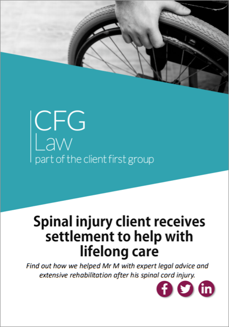 Spinal injury client receives settlement to help with lifelong care